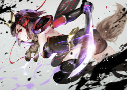 1girl, animal ears, black dress, blurry, breasts, brown hair, character request, chinese zodiac, dog ears, dog tail, dress, from side, gauntlets, hair ornament, highres, holding, holding sword, holding weapon, long hair, medium breasts, motion blur, new year, profile, red eyes, short hair, sideways glance, solo, sword, tail, tower of saviors, vardan, weapon, year of the dog