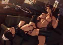 Rule 34 | 2girls, 3d background, abs, adapted costume, arm tattoo, arms behind back, assault rifle, bdsm, black-framed eyewear, black hair, black lagoon, black legwear, blue eyes, bondage, bondage outfit, bound, bound arms, braid, breasts, brown hair, cigarette, clothed female nude female, clothed sex, commentary, couch, dappled sunlight, day, dildo, english commentary, femdom, fingerless gloves, fucked silly, glasses, gloves, gun, hand cannon, handgun, highres, holding, holding gun, holding weapon, holster, indoors, john doe, large breasts, lips, long hair, lying, maid, maid headdress, moaning, multiple girls, navel, nipples, nude, o-ring, on back, on couch, open mouth, partially fingerless gloves, pistol, pussy, revolver, revy (black lagoon), rifle, roberta (black lagoon), rolling eyes, round eyewear, sex, sex toy, shoulder holster, smoking, sniper rifle, strap-on, sunlight, sweat, tattoo, thighhighs, toned, trigger discipline, twin braids, uncensored, upper teeth, vaginal, weapon, yuri