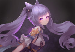1girl, angry, bare shoulders, bow, breasts, detached sleeves, eyelashes, frills, from side, genshin impact, hair bow, hair cones, hair ornament, highres, keqing (genshin impact), light blush, long hair, looking at viewer, parted lips, purple eyes, purple hair, scowl, short sleeves, small breasts, solo, star (symbol), starry background, twintails, upper body, v-shaped eyebrows, yu mochi (kamiinu)