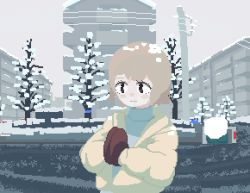 1girl, animated, animated gif, black eyes, blonde hair, blush, building, city, coat, female focus, looking at viewer, mittens, original, outdoors, own hands together, peco-pech, pixel art, snow, snowing, solo, talking, tree, winter clothes