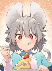 + +, 1girl, :q, animal ears, bangs, blush, cake, capelet, closed mouth, commentary request, cream, cream on face, eating, eyebrows visible through hair, food, food on face, fruit, grey hair, happy, holding, holding spoon, icing, kibayashi kimori, long sleeves, looking down, mouse, mouse ears, mouse girl, mouse tail, nazrin, orange background, plate, red eyes, shirt, short hair, solo, spoon, strawberry, symbol-shaped pupils, tail, tongue, tongue out, touhou, translation request, upper body, white shirt