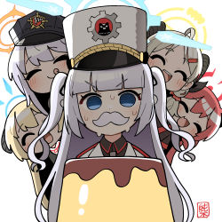 5girls, :q, akari (blue archive), bangs, black headwear, blonde hair, blue archive, blue eyes, blunt bangs, cherino (blue archive), curled horns, eyebrows visible through hair, eyes closed, fake facial hair, fake mustache, food, halo, haruna (blue archive), hat, highres, horns, izumi (blue archive), jacket, junko (blue archive), junsuina fujunbutsu, licking lips, long hair, multiple girls, open mouth, peaked cap, pudding, red hair, shako cap, signature, silver hair, simple background, smile, sweat, sweating profusely, tongue, tongue out, twintails, two side up, white background, white headwear, white jacket