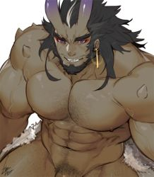 Rule 34   1boy, abs, bara, beard, black hair, character request, check copyright, chest hair, completely nude, copyright request, cowboy shot, earrings, evil smile, facial hair, from above, gomtang, hairy, horns, jewelry, large pectorals, leg hair, long hair, male focus, mature male, monster boy, muscular, muscular male, navel, navel hair, nipples, nude, oni, original, out-of-frame censoring, penis peek, skin-covered horns, smile, solo, stomach, thick eyebrows, thick thighs, thighs, veins