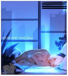 Rule 34   1boy, 1girl, azur lane, bed, bed sheet, breasts, cityscape, eyes closed, fingering, highres, hu dako, hug, hug from behind, indoors, lying, navel, night, nipples, on side, short hair, sirius (azur lane), white hair