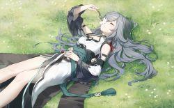 1girl, absurdres, arm strap, bare shoulders, blue hair, chinese clothes, cleavage cutout, closed mouth, clothing cutout, commentary request, dress, earrings, eyes closed, feet out of frame, flower, fu hua, fu hua (azure empyrea), grass, hair ornament, hair over one eye, highres, holding, holding flower, honkai (series), honkai impact 3rd, jewelry, long hair, long sleeves, lying, mandarin collar, meadow, on back, rafaelaaa, sash, see-through, shoulder cutout, solo, white dress, white flower, whorled clouds, wide sleeves, yin yang
