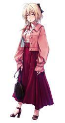 1girl, absurdres, alternate costume, applekun, belt, black bow, blonde hair, bow, fate/grand order, fate (series), full body, hair bow, half updo, highres, jacket, long sleeves, neck ribbon, okita souji (fate), okita souji (fate) (all), open clothes, open jacket, pink jacket, red belt, red ribbon, red skirt, ribbon, shirt, skirt, solo, standing, white shirt, yellow eyes