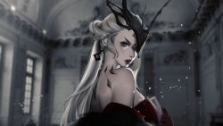 1girl, artist name, back, bare shoulders, blonde hair, breasts, coat, dangle earrings, day, dress, earrings, error, eyelashes, eyeliner, eyepatch, eyeshadow, falling petals, from side, fur-trimmed coat, fur trim, gem, genshin impact, gloves, hand up, headpiece, highres, indoors, jewelry, lace-trimmed eyepatch, large breasts, lips, lipstick, long hair, looking at viewer, looking back, mahoushani, makeup, off shoulder, one eye covered, parted lips, petals, purple eyes, red gloves, ringlets, sideboob, signora, solo, strapless, strapless dress, thick lips, very long hair, window
