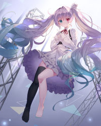 1girl, absurdres, alternate hair color, aqua eyes, aqua nails, barefoot, black legwear, blue hair, bow, buckle, buttons, chest harness, closed mouth, collared shirt, commentary request, dress shirt, eyebrows visible through hair, fingernails, floating hair, frilled skirt, frills, full body, gradient hair, hair bow, hands on own chest, harness, hatsune miku, heterochromia, highres, light purple hair, light rays, long hair, long sleeves, looking at viewer, minato0683, multicolored hair, nail polish, neck ribbon, no shoes, o-ring, pink eyes, project sekai, red neckwear, ribbon, shirt, single thighhigh, skindentation, skirt, smile, solo, thighhighs, toenail polish, toenails, toes, triangle, twintails, untucked shirt, very long hair, vocaloid, wavy hair, white bow, white shirt, white skirt