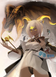 1girl, absurdres, animal ears, arknights, bangs, beeswax (arknights), black jacket, card, crossover, dress, duel disk, goat ears, goat horns, gold horns, highres, holding, holding card, horns, infection monitor (arknights), jacket, kulve taroth, long sleeves, looking at viewer, monster hunter, monster hunter: world, mowangzhanjiang, off-shoulder dress, off shoulder, open clothes, open jacket, short hair, white dress, white hair, yellow eyes, yu-gi-oh!