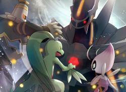alternate color, celebi, commentary request, creatures (company), dialga, dusknoir, from below, fushigi no dungeon, game freak, gem, gen 2 pokemon, gen 3 pokemon, gen 4 pokemon, glowing, glowing eyes, gonzarez, green eyes, grovyle, legendary pokemon, looking at another, mythical pokemon, nintendo, no humans, open mouth, pokemon, pokemon (creature), pokemon (game), pokemon mystery dungeon, red eyes, shiny pokemon