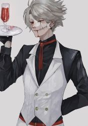 1boy, ambiguous red liquid, arm behind back, black gloves, blood, blood from mouth, blood on face, cup, ear piercing, earlgrey3183, earrings, gloves, grey hair, half-closed eyes, half gloves, highres, holding, holding plate, jewelry, male focus, one eye closed, original, piercing, plate, red eyes, red neckwear, scar, scar across eye, scar on face, simple background, solo, stitches