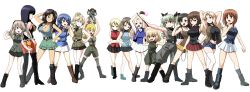 6+girls, :d, absurdres, adapted costume, aiguillette, anchovy (girls und panzer), animal, ankle boots, anzio military uniform, aoshidan school uniform, arm up, armpits, arms behind head, arms up, ass, asymmetrical bangs, bangs, bc freedom military uniform, belt, binoculars, black belt, black footwear, black hair, black jacket, black legwear, black neckwear, black ribbon, black shirt, black skirt, blonde hair, blue eyes, blue footwear, blue hair, blue jacket, blue shirt, blue shorts, blue skirt, blue vest, blunt bangs, bonple military uniform, boots, braid, breasts, brown eyes, brown footwear, brown hair, brown headwear, brown jacket, brown shirt, brown skirt, chi-hatan military uniform, cleavage, clenched hand, clenched hands, closed mouth, combat boots, commentary, constricted pupils, cross-laced footwear, crossed arms, darjeeling (girls und panzer), dark skin, dark skinned female, denim, denim shorts, dress shirt, drill hair, eclair (girls und panzer), el (girls und panzer), emblem, epaulettes, eyebrows visible through hair, fan, fang, fighting stance, flexing, folding fan, frilled skirt, frills, from behind, frown, full body, girls und panzer, girls und panzer gekijouban, girls und panzer ribbon no musha, green eyes, green hair, green jumpsuit, green legwear, green shirt, green shorts, green skirt, gregor military uniform, grey jacket, grey legwear, grey pants, grin, hair bun, hair intakes, hair over shoulder, hair ribbon, half-closed eyes, hand in hair, hand on hip, hand on own head, hand on own throat, hands in pockets, head tilt, high collar, high heel boots, high heels, highres, holding, holding animal, holding binoculars, holding fan, insignia, jacket, jajka (girls und panzer), jumpsuit, kafka (girls und panzer), kamishima kanon, katyusha (girls und panzer), kay (girls und panzer), keizoku military uniform, knee boots, koala, koala forest military uniform, kuromorimine military uniform, lace-up boots, large breasts, leg up, light brown hair, long hair, looki