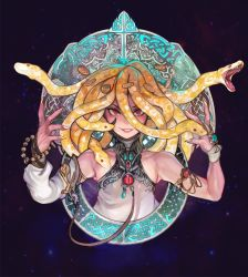 1boy, fingernails, gold coin, gorgon, jewelry, lips, looking at viewer, red eyes, sharp fingernails, snake hair, solo, toxxy, trap