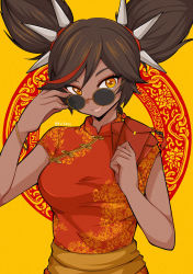 1girl, adjusting eyewear, adjusting glasses, black hair, breasts, brown eyes, china dress, chinese clothes, clenched hands, commentary, dark skin, dark skinned female, dress, english commentary, eyeshadow, genshin impact, highres, k.k.tofus, looking over eyewear, looking over glasses, looking to the side, makeup, medium breasts, multicolored hair, open mouth, red eyeshadow, red hair, round eyewear, smile, solo, spikes, streaked hair, sunglasses, tinted eyewear, twintails, upper body, xinyan (genshin impact)