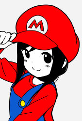 1girl, adjusting clothes, adjusting headwear, arm up, bangs, blue overalls, blush, closed mouth, cosplay, disconnected mouth, dot nose, grey background, hat, highres, hitori bocchi, hitoribocchi no marumaru seikatsu, katsuwo (cr66g), long hair, long sleeves, looking at viewer, mario, mario (cosplay), mario (series), nintendo, overalls, partially colored, red headwear, red shirt, shirt, simple background, solo, upper body