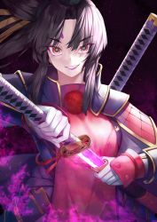 1girl, armor, bangs, black hair, eyebrows visible through hair, fate/grand order, fate (series), floating hair, gloves, grin, hair between eyes, hair intakes, highres, holding, holding sheath, holding sword, holding weapon, long hair, looking at viewer, purple lips, red eyes, reuri (tjux4555), sheath, shoulder armor, sidelocks, smile, solo, sword, unsheathing, upper body, ushiwakamaru (avenger) (fate), v-shaped eyebrows, weapon, white gloves