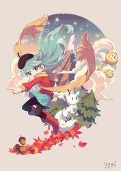1girl, absurdres, blue eyes, blue hair, highres, hilda (hilda), hilda (series), horns, leaves, mountain, tree, twig (hilda), woff
