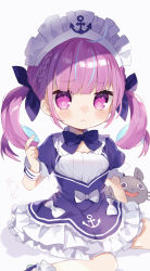 1girl, :<, :d, absurdres, anchor print, anchor symbol, animal, bangs, blue bow, blue dress, blue neckwear, blunt bangs, blush, bow, bowtie, braid, breasts, cat, closed mouth, commentary request, dress, drill hair, eyebrows visible through hair, foot out of frame, french braid, hair bow, highres, hololive, index finger raised, light blue hair, long hair, looking at viewer, maid headdress, minato aqua, multicolored hair, noi mine, open mouth, petticoat, pink eyes, pink hair, puffy short sleeves, puffy sleeves, short sleeves, simple background, sitting, small breasts, smile, solo, streaked hair, tearing up, twin drills, twintails, two-tone hair, virtual youtuber, wariza, white background, white bow, white headwear, wrist cuffs, younger