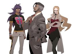 1girl, 2boys, absurdres, adjusting neckwear, arms at sides, belt, black choker, black skirt, blonde hair, blouse, business suit, buttons, champion uniform, choker, clenched hands, closed mouth, coat, collared shirt, commentary request, creatures (company), dark skin, dark skinned male, dynamax band, earrings, facial hair, formal, game freak, gloves, green eyes, grey jacket, grey legwear, grey pants, grey vest, hand in pocket, highres, hoop earrings, jacket, jewelry, leon (pokemon), long hair, looking at viewer, multiple boys, necktie, nintendo, number, oleana (pokemon), pants, pantyhose, pencil skirt, pokemon, pokemon (game), pokemon swsh, purple hair, red blouse, red neckwear, redlhzz, rose (pokemon), shirt, short shorts, short sleeves, shorts, single glove, skirt, smile, suit, undercut, vest, white coat, white legwear, white shirt, white shorts