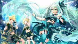 1boy, 2girls, alternate costume, ankle boots, aqua eyes, aqua hair, arm at side, arm up, armpits, backlighting, belt, black belt, black choker, black footwear, black gloves, black jacket, black shorts, blonde hair, blurry, blurry background, bokeh, boots, bracelet, breasts, choker, commentary, concert, contrapposto, crop top, depth of field, detached sleeves, dot nose, dutch angle, feet up, fingerless gloves, flat chest, floating hair, fur-trimmed jacket, fur trim, garter straps, gloves, green eyes, grey shirt, grey skirt, hair between eyes, hair ornament, hair ribbon, hairclip, hatsune miku, headset, high ponytail, highres, jacket, jewelry, kagamine len, kagamine rin, light particles, long hair, looking at viewer, medium breasts, midriff, multiple girls, music, navel, open clothes, open jacket, ponytail, ribbon, shinotarou (nagunaguex), shirt, short hair, short ponytail, short shorts, shorts, singing, single detached sleeve, single glove, skirt, sparkle, spiked choker, spikes, spotlight, stage lights, stomach, strapless, striped, striped legwear, suspender shorts, suspender skirt, suspenders, teeth, thigh strap, thighhighs, tubetop, twintails, upper teeth, very long hair, vocaloid, white ribbon, zettai ryouiki, zipper