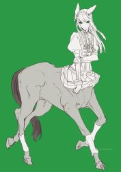 1girl, animal ears, bangs, blunt bangs, centaur, closed mouth, commentary, eyebrows visible through hair, flat chest, full body, gloves, green eyes, hairband, highres, horse ears, horse tail, long hair, looking at viewer, monochrome, monster girl, monsterification, multiple legs, neck ribbon, puffy short sleeves, puffy sleeves, ribbon, school uniform, short sleeves, sidelocks, signature, silence suzuka, simple background, sketch, skirt, smile, solo, standing, tail, tatinami, tracen school uniform, umamusume