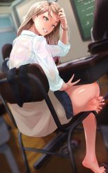 Rule 34 | 1girl, barefoot, blue eyes, chair, classroom, desk, feet, grin, haorclip, highres, light brown hair, long hair, looking at viewer, shoes, shoes removed, sitting, smile, socks, socks removed, soles, toes, uwabaki, v