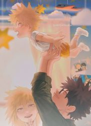 1girl, 2boys, :d, arms up, bakugou katsuki, bakugou masaru, bakugou mitsuki, black hair, black shirt, blonde hair, blurry, blurry background, blush, boku no hero academia, child, commentary request, curtains, facial hair, family, from side, glasses, holding, holding another, jewelry, looking at another, midoriya izuku, multiple boys, open mouth, orange shorts, photo (object), profile, red eyes, ring, shirt, short hair, shorts, smile, spiked hair, upper teeth, wengwengchim, white shirt, younger