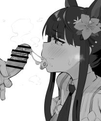 Rule 34 | 1boy, 1girl, after fellatio, animal ears, bangs, bar censor, blush, censored, cum, cum in mouth, cum on tongue, flower, greyscale, hair flower, hair ornament, hetero, highres, kasumi (princess connect!), long hair, monochrome, necktie, penis, princess connect!, princess connect! re:dive, reinoenu (anon), smegma, solo focus, tongue, tongue out, white background