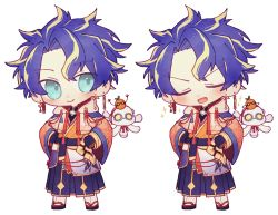 1boy, astel leda, bangs, black gloves, blonde hair, blue eyes, blue hair, blush, chibi, clenched hands, coojisan, earrings, eyebrows visible through hair, eyes closed, gloves, hands on hips, highres, holostars, japanese clothes, jewelry, kimono, looking to the side, male focus, multicolored hair, open mouth, robot, streaked hair, v-shaped eyebrows, virtual youtuber