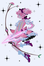 1girl, acet0xy, ankle ribbon, arrow (projectile), bow (weapon), bubble skirt, buttons, choker, closed mouth, collarbone, cross-laced footwear, expressionless, eyebrows visible through hair, feet up, flat chest, floating hair, flower, frilled legwear, frilled skirt, frilled sleeves, frills, from side, full body, gloves, glowing, glowing arrow, glowing weapon, hair ribbon, highres, holding, holding weapon, kaname madoka, knees together feet apart, leaf, light particles, looking afar, mahou shoujo madoka magica, outline, pink eyes, pink flower, pink hair, pink rose, pink theme, profile, puffy short sleeves, puffy sleeves, red footwear, ribbon, ribbon choker, rose, shiny, shiny footwear, shiny hair, short sleeves, short twintails, simple background, skirt, socks, solo, soul gem, sparkle background, tareme, twintails, twitter username, weapon, white background, white gloves, white legwear, white outline, white skirt