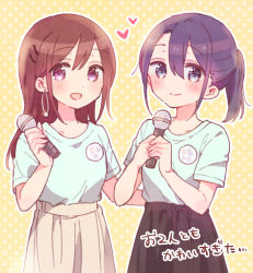 2girls, :d, absurdres, adachi sakura, adachi to shimamura, bangs, black hair, black skirt, blue eyes, blue shirt, blush, brown hair, brown skirt, closed mouth, collarbone, eyebrows visible through hair, hair between eyes, hair ornament, hairclip, heart, highres, holding, holding microphone, hood, long hair, looking at viewer, microphone, multiple girls, open mouth, outline, pleated skirt, polka dot, polka dot background, ponytail, purple eyes, shimamura hougetsu, shirt, short sleeves, skirt, smile, sorimachi-doufu, translation request, white outline, yellow background