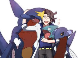 1boy, augustine sycamore, brown hair, collared shirt, commentary request, creatures (company), eyes closed, gabite, game freak, garchomp, gen 4 pokemon, gible, heart, highres, labcoat, male focus, medium hair, morio (poke orio), nintendo, open mouth, pants, pokemon, pokemon (creature), pokemon (game), pokemon xy, shirt, simple background, smile, teeth, tongue, white background, |d