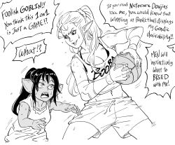 2girls, ball, baseball, baseball uniform, bb (baalbuddy), breasts, cleavage, clothes writing, commentary, dark skin, dark skinned female, elf, english commentary, english text, female goblin, goblin, greyscale, highres, holding, holding ball, large breasts, legs apart, meme, monochrome, multiple girls, open mouth, original, pointy ears, ponytail, sharp teeth, shirt, shorts, simple background, smile, sportswear, standing, sweat, teeth, white background, wide-eyed