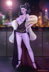 Rule 34 | 1girl, alternate hairstyle, artist name, backlighting, bare shoulders, black dress, blurry, breasts, collarbone, colored skin, commentary, cup, depth of field, dress, drinking glass, earrings, english commentary, erection, exlic, full body, fur coat, futanari, gold necklace, hand on hip, high heels, highres, holding, holding cup, hoop earrings, jewelry, medium breasts, nail polish, necklace, overwatch, patreon username, penis, ponytail, purple hair, purple nails, purple skin, red wine, solo, testicles, uncensored, widowmaker (overwatch), wine glass, yellow eyes