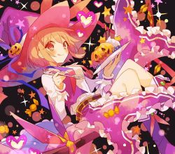 1girl, :q, bangs, blueberry, blush, boots, broom, broom riding, brown hair, cream, eyebrows visible through hair, food, fork, frilled skirt, frills, fruit, hat, heart, hibi89, holding, holding fork, holding plate, jack-o'-lantern, looking at viewer, merc storia, orange eyes, pink skirt, plate, pocky, purple footwear, shirt, short hair, skirt, smile, soiree (merc storia), solo, star (symbol), tongue, tongue out, white shirt, witch hat