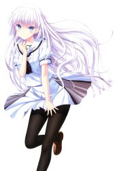 1girl, absurdres, bangs, blue eyes, blush, breasts, brown footwear, closed mouth, copyright name, dated, eyebrows visible through hair, hair ornament, hairclip, hand up, highres, huge filesize, leg up, loafers, long hair, looking at viewer, medium breasts, na-ga, naruse shiroha, official art, page number, pantyhose, scan, school uniform, shiny, shiny clothes, shoes, short sleeves, skirt, skirt flip, solo, spread skirt, summer pockets, transparent background, white hair