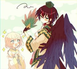 1boy, 1girl, :d, ahoge, black wings, blush, brown hair, character request, detached sleeves, fan, feathered wings, feathers, fur trim, green eyes, hat, hibi89, holding, holding fan, japanese clothes, merc storia, multiple boys, open mouth, scribble, smile, sparkle, sparkling eyes, tokin hat, wide sleeves, wings