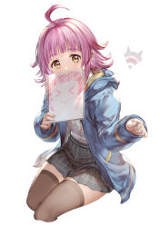 > <, 1girl, 77gl, ahoge, bangs, blue jacket, blunt bangs, blunt ends, brown legwear, commentary request, covered mouth, cropped legs, drawstring, eyebrows visible through hair, fingernails, grey skirt, hands up, holding, holding sketchbook, hood, hood down, hooded jacket, invisible chair, jacket, long sleeves, looking at viewer, love live!, love live! nijigasaki high school idol club, miniskirt, nijigasaki academy uniform, open clothes, open jacket, pink hair, plaid, plaid skirt, pleated skirt, school uniform, shiny, shiny hair, shirt, shirt tucked in, short hair, simple background, sitting, sketchbook, skirt, solo, tennouji rina, thighhighs, white background, white shirt, yellow eyes, zettai ryouiki