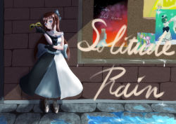 1girl, absurdres, aqua eyes, artist name, artist request, back bow, bare shoulders, belt, birthday, black dress, black footwear, black gloves, black high heels, black legwear, black skirt, blue eyes, blush, bow, breasts, brick wall, brown hair, buttons, choker, cleavage, collarbone, dress, drop earrings, earrings, female focus, full body, gloves, grey bow, grey skirt, hair between eyes, hair bow, hand on elbow, happy birthday, high heels, high ponytail, highres, holding, holding mask, jewelry, lace, lace gloves, long hair, looking at viewer, love live!, love live! nijigasaki high school idol club, love live! school idol festival, mask, mifune shioriko, multicolored, multicolored clothes, nakasu kasumi, necklace, off-shoulder dress, off shoulder, ousaka shizuku, outdoors, pantyhose, parted lips, ponytail, poster (object), sidelocks, skirt, sleeveless, sleeveless dress, small breasts, smile, solitude rain (love live!), solo, tennouji rina, two-tone dress, white bow, white dress, white skirt