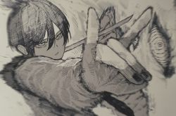 1boy, 1other, ate5424, black hair, blurry, blurry background, chainsaw man, collared shirt, eyebrows, fingernails, fox devil (chainsaw man), hair between eyes, hand signs, hands, hayakawa aki, high ponytail, highres, holding, holding sword, holding weapon, long sleeves, medium hair, monochrome, nail polish, pale skin, parted lips, shirt, short ponytail, sleeves past elbows, spiral eyes, summoning, sword, weapon, white shirt