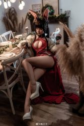 Rule 34   animal ears, asian, breasts, brown hair, capelet, chunmomo0127, cleavage, cosplay, dress, fox ears, fur-trimmed capelet, fur trim, heels, highres, huge breasts, japanese (nationality), long hair, long legs, red dress, thick thighs, thighs