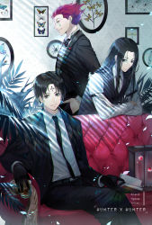 3boys, bangs, belt, black belt, black bow, black eyes, black gloves, black hair, black jacket, black neckwear, black pants, black suit, black vest, blue butterfly, book, bow, bowtie, branch, bug, butterfly, chains, character name, chrollo lucilfer, closed mouth, collared shirt, commentary, container, copyright name, couch, crossed arms, cup, dragonfly, earrings, ekita kuro, empty eyes, expressionless, eyeball, facial tattoo, falling petals, feet out of frame, fingernails, forehead tattoo, formal, framed insect, glass, glint, gloves, hand in pocket, heart, highres, hisoka morow, holding, holding book, holding cup, hunter x hunter, illumi zoldyck, indoors, insect, jacket, jewelry, legs crossed, long hair, long sleeves, looking at viewer, male focus, multiple boys, necktie, on couch, open book, open clothes, open jacket, pants, parted bangs, parted lips, petals, picture frame, plant, red hair, shirt, short hair, sideways glance, silk, sitting, smile, spider, spider web, standing, suit, tattoo, teardrop tattoo, vest, white shirt, yellow eyes