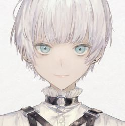 1boy, bishounen, blue eyes, choker, closed mouth, cropped, earrings, frills, grey background, highres, jewelry, looking at viewer, male focus, nanaju ko, o-ring, o-ring choker, original, pink lips, smile, solo, stud earrings, upper body, white hair