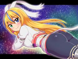 1girl, ass, blaster master zero, blonde hair, blue eyes, blue hair, blush, breasts, cougar (cougar1404), eve (blaster master zero), green eyes, hair ribbon, heterochromia, long hair, looking at viewer, lying, multicolored hair, on stomach, pants, ribbon, shiny, shiny clothes, shiny hair, sideboob, smile, solo, thighhighs, very long hair