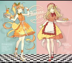 2girls, :q, ahoge, akakura, apron, arm up, artist name, back bow, bag, bangs, bare arms, bare shoulders, belt, belt buckle, blonde hair, bow, bow legwear, buckle, checkered, checkered floor, closed mouth, collared dress, colored inner hair, commentary request, cross-laced footwear, cup, curly hair, double-breasted, dress, drink, drinking glass, drinking straw, earrings, english text, fingernails, food, food themed clothes, food themed hair ornament, fork hair ornament, frilled apron, frilled legwear, frills, full body, green eyes, green ribbon, green scrunchie, hair ornament, hair ribbon, hair rings, hair scrunchie, hand on headwear, headdress, high belt, highres, holding, holding drink, holding food, holding plate, holding tray, jewelry, ketchup, letterboxed, long belt, long hair, looking to the side, loose socks, mary janes, multicolored, multicolored clothes, multicolored hair, multicolored skirt, multiple girls, nail polish, omelet, omurice, one side up, open mouth, orange dress, orange hair, orange legwear, orange nails, original, personification, plate, polka dot, polka dot ribbon, polka dot skirt, ponytail, puffy short sleeves, puffy sleeves, red bow, red footwear, red shirt, red skirt, ribbon, roller skates, scrunchie, shadow, shirt, shoes, short sleeves, shoulder bag, signature, single earring, skates, skirt, sleeveless, sleeveless dress, smile, socks, spoon hair ornament, standing, star-shaped pupils, star (symbol), swept bangs, symbol-shaped pupils, tongue, tongue out, tray, two-tone hair, upper teeth, very long hair, visor cap, waist apron, wavy hair, white apron, white belt, white bow, white footwear, white legwear, wrist scrunchie, wristband, yellow nails, yellow skirt