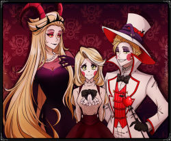 1boy, 2girls, apple, black dress, black lips, blonde hair, bow, bowtie, charlie magne, colored sclera, demon, demon boy, demon girl, demon horns, dress, family, father and daughter, food, formal, fruit, grin, hair horns, hazbin hotel, horns, husband and wife, jewelry, lilith (hazbin hotel), lipstick, long hair, long sleeves, lucifer (hazbin hotel), makeup, miyuki-fanarts, mother and daughter, multiple girls, necklace, pale skin, pants, pinstripe pattern, pinstripe suit, red sclera, sharp teeth, sidelocks, size difference, smile, snake, striped, suit, teeth, very long hair, white suit, yellow eyes, yellow sclera