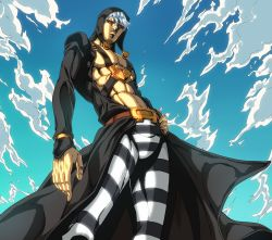 1boy, abs, belt, black coat, black headwear, black pants, black sclera, blue sky, chest harness, cloud, coat, colored sclera, commentary request, from below, hand on hip, harness, hat, hat bobbles, highres, ishimoto shun'ichi, jojo no kimyou na bouken, long coat, looking at viewer, looking down, male focus, official style, open clothes, open coat, pants, parted lips, pectorals, red eyes, risotto nero, short hair, silver hair, sky, solo, striped, striped pants, toned, toned male, vento aureo, white pants