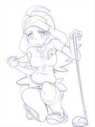 1girl, ahoge, border, breasts, closed mouth, collared shirt, creatures (company), elite four, female focus, full body, game freak, golf club, greyscale, hands up, holding, holding poke ball, kahili (pokemon), kneehighs, lineart, long hair, looking at viewer, medium breasts, miniskirt, mole, mole under eye, monochrome, nintendo, one knee, pencil skirt, poke ball, poke ball (basic), pokemon, pokemon (game), pokemon sm, shirt, shoes, short sleeves, simple background, sketch, skirt, solo, v-shaped eyebrows, visor cap, white background, zaitsu