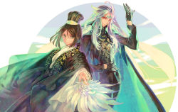 2boys, alternate costume, androgynous, aqua hair, azuma tou, black gloves, blue hair, chinese clothes, chinese hat, expressionless, eyeshadow, face, fate/grand order, fate (series), feather fan, feet out of frame, forehead jewel, formal, gloves, hat, long hair, looking at viewer, makeup, male focus, multicolored hair, multiple boys, orange eyes, qin shi huang (fate), red eyeshadow, sidelocks, smile, streaked hair, very long hair, waver velvet, white hair