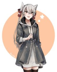 1girl, amatsukaze (kancolle), arm behind back, bangs, black legwear, brown eyes, grey hair, grey jacket, hair between eyes, hair tubes, highres, hood, hood down, jacket, kantai collection, long hair, nidou, open mouth, signature, simple background, solo, thighhighs, two-tone background, two side up